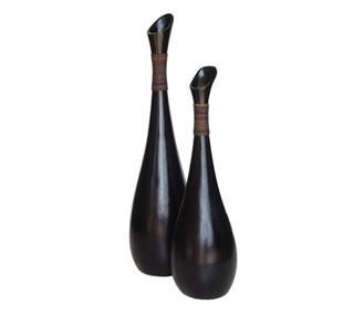 Black Floor Vase with Abaca